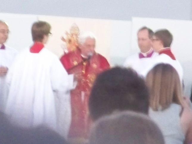 Slightly fuzzy photo I took of Pope Benedict XVI.