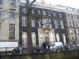 The buildings along the canal